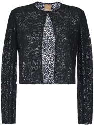 Pascal Millet Semi Sheer Floral Lace Cropped Jacket Black