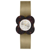 Orla Kiely Ok4030 Poppy Mesh Bracelet Strap Watch Gold Cream
