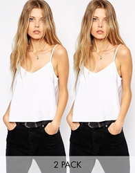 Asos Cropped Woven Cami Top 2 Pack Save 20 Whitewhite