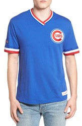Mitchell And Ness Men's Chicago Cubs Vintage V Neck T Shirt