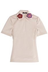 Ostwald Helgason Micro Pique Polo Shirt With Crochet Flowers Beige