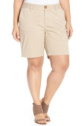 Plus Size Women's Sejour 'Addison' Stretch Twill Bermuda Shorts Tan Oxford Chevron Prt