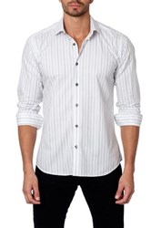 Jared Lang Long Sleeve Stripe Semi Fitted Shirt White
