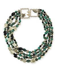 Alexis Bittar Chunky Beaded Statement Necklace Green