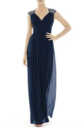 Women's Alfred Sung Shirred Chiffon Cap Sleeve Gown Midnight