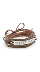 Chan Luu Raw Cut Leather Wrap Bracelet Mystic Labradorite
