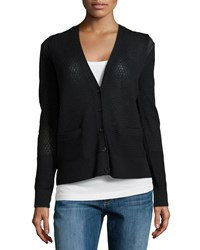 Halston Pointelle Knit Button Cardigan Black