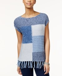 American Living Colorblocked Fringe Knit Sweater