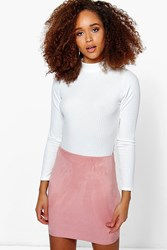 Boohoo Suedette Bodycon Mini Skirt Dusky Pink