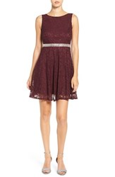 Speechless Women's Embellished Lace Skater Dress Raisin