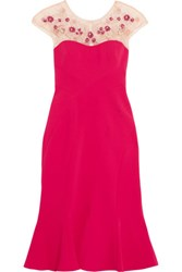 Marchesa Notte Embellished Crepe Dress Magenta