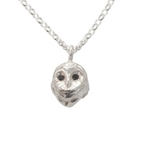By Emily Silver Barn Owl Necklace With Black Diamonds Black Silver