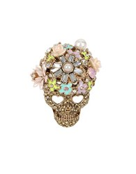 Betsey Johnson Pearl And Crystal Scull Ring Pink