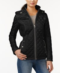 Laundry By Design Short Hooded Quilted Jacket Black