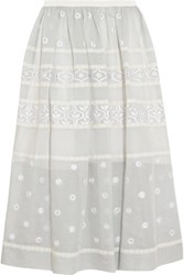 Temperley London Lizette Embroidered Cotton And Silk Blend Organdy Midi Skirt Gray