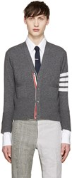Thom Browne Grey Cashmere Striped Armband Cardigan