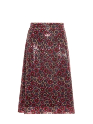 House Of Holland Sequin Floral Midi Skirt