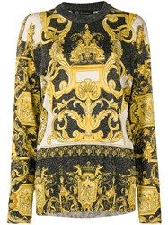 Versace Baroque Print Glittered Jumper Yellow And Orange