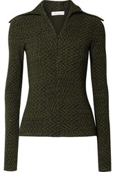 Beaufille Bernini Ribbed Jacquard Knit Sweater Black