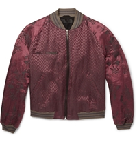 Haider Ackermann Floral Jacquard Linen And Silk Blend Bomber Jacket Red