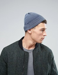 New Look Beanie Hat In Oil Wash Blue Mid Blue