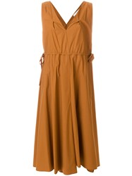 Tela V Neck Flared Dress Brown