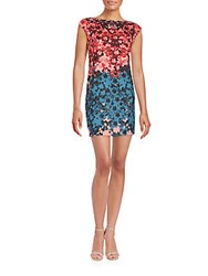 Cynthia Steffe Boatneck Floral Printed Dress Rich Black Multicolor