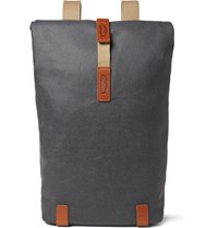 Brooks England Pickwick Small Leather Trimmed Cotton Canvas Backpack Gray