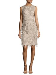 David Meister Metallic Feathered Dress Champagne