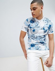 Selected Homme Polo Shirt With All Over Print Bright White