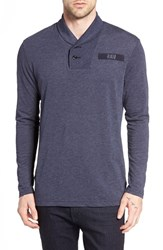 G Star Men's Raw 'Gilik' Shawl Collar Long Sleeve T Shirt Dark Saru Blue