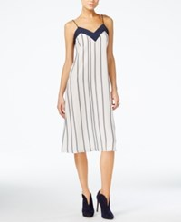 Armani Exchange Striped Slip Dress Cream Stripe