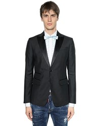 Dsquared London Wool And Silk Blend Tuxedo Jacket Black