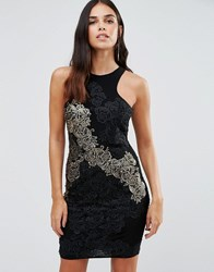 Forever Unique Daria Lace Bodycon Dress With Gold Lace Detail Black And Gold