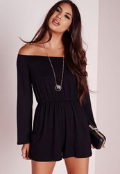 Missguided Jersey Bardot Playsuit Black