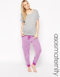 Asos Maternity Pyjama Set With T Shirt And Striped Trousers Multi