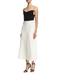 Narciso Rodriguez Spaghetti Strap Bicolor Silk Crepe Dress Black White
