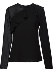 Cushnie Et Ochs Sheer Sleeve Blouse Black