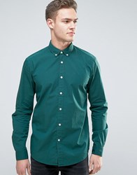 Esprit Stretch Slim Fit Cotton Poplin Shirt Green