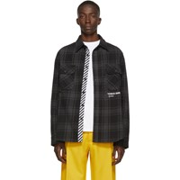Off White Ssense Exclusive Black Quote Flannel Shirt