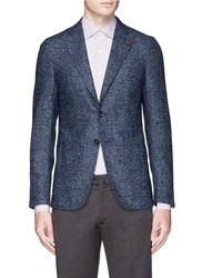 Isaia 'Cortina' Glen Plaid Alpaca Wool Blend Boucle Blazer Blue