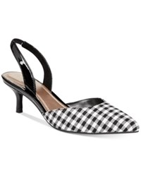 Impo Elate Slingback Pumps Women's Shoes Black White Fabric