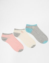 Penguin 3 Pack Socks In Grey Cable Grey Cream