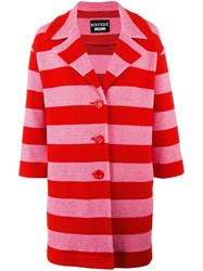 Boutique Moschino Striped Coat Red