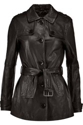 J Brand Arrow Leather Trench Coat Black
