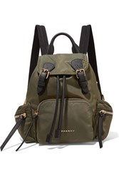 Burberry Small Leather Trimmed Gabardine Backpack Green