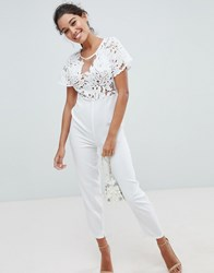 Love Triangle Lace Jumpsuit White