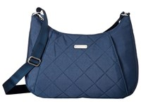 Baggallini Quilted Slim Crossbody Hobo With Rfid Slate Quilt Cross Body Handbags Blue
