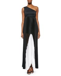 Alexis Callista Colorblock Pleated Gown Black White