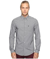 Ben Sherman Long Sleeve Overprinted Dogtooth Woven True Black Men's Long Sleeve Pullover